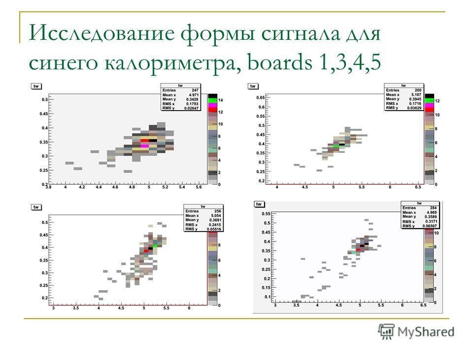 Исследование формы сигнала для синего калориметра, boards 1,3,4,5