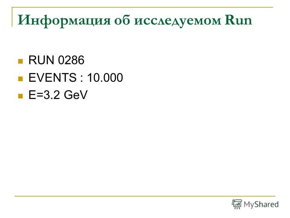 Информация об исследуемом Run RUN 0286 EVENTS : 10.000 E=3.2 GeV