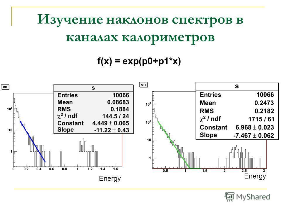 Изучение наклонов спектров в каналах калориметров f(x) = exp(p0+p1*x) Energy