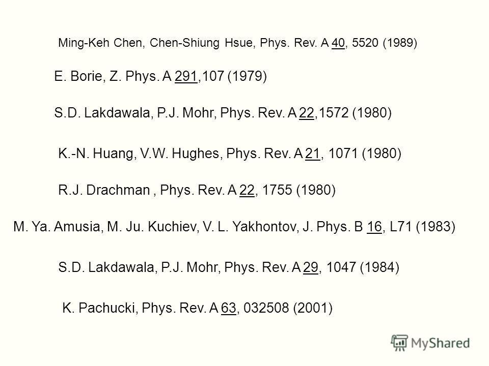 S.D. Lakdawala, P.J. Mohr, Phys. Rev. A 22,1572 (1980) K.-N. Huang, V.W. Hughes, Phys. Rev. A 21, 1071 (1980) R.J. Drachman, Phys. Rev. A 22, 1755 (1980) M. Ya. Amusia, M. Ju. Kuchiev, V. L. Yakhontov, J. Phys. B 16, L71 (1983) S.D. Lakdawala, P.J. M