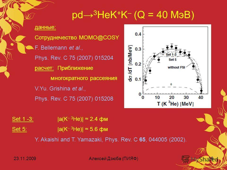 23.11.2009Алексей Дзюба (ПИЯФ)18 pd 3 HeK + K – (Q = 40 МэВ) данные: Сотруднечество MOMO@COSY F. Bellemann et al., Phys. Rev. C 75 (2007) 015204 расчет:Приближение многократного рассеяния V.Yu. Grishina et al., Phys. Rev. C 75 (2007) 015208 Set 1 -3: