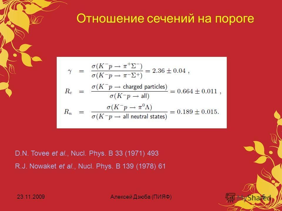 23.11.2009Алексей Дзюба (ПИЯФ)5 Отношение сечений на пороге D.N. Tovee et al., Nucl. Phys. B 33 (1971) 493 R.J. Nowaket et al., Nucl. Phys. B 139 (1978) 61