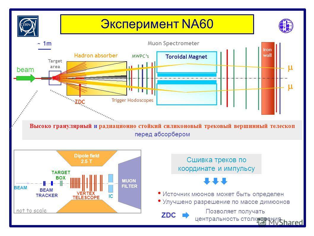 Эксперимент NA60 MUON FILTER BEAM TRACKER TARGET BOX VERTEX TELESCOPE Dipole field 2.5 T BEAM IC not to scale Источник мюонов может быть определен Улучшено разрешение по массе димюонов Сшивка треков по координате и импульсу ZDC Позволяет получать цен