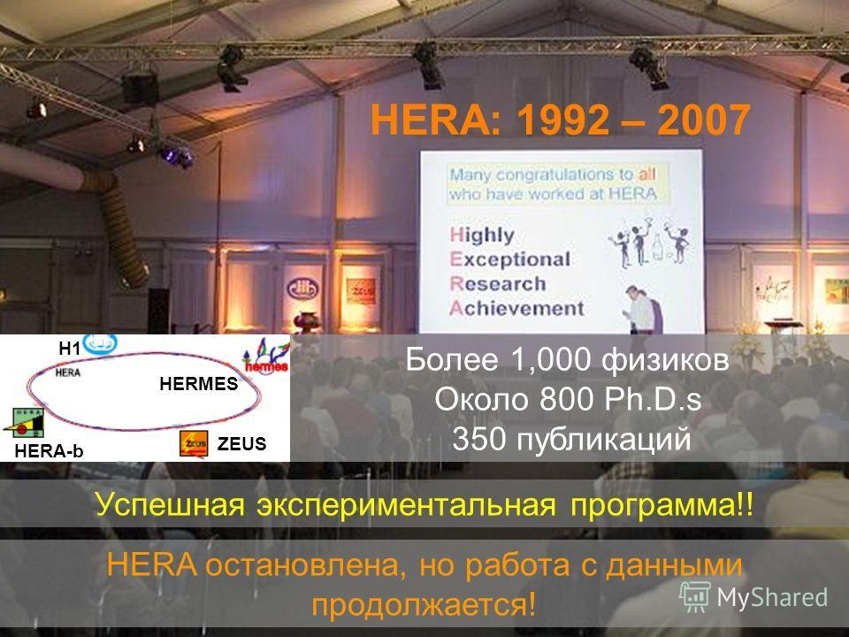 HERA: 1992 – 2007 HERA остановлена, но работа с данными продолжается! Успешная экспериментальная программа!! Более 1,000 физиков Около 800 Ph.D.s 350 публикаций HERMES ZEUS H1 HERA-b
