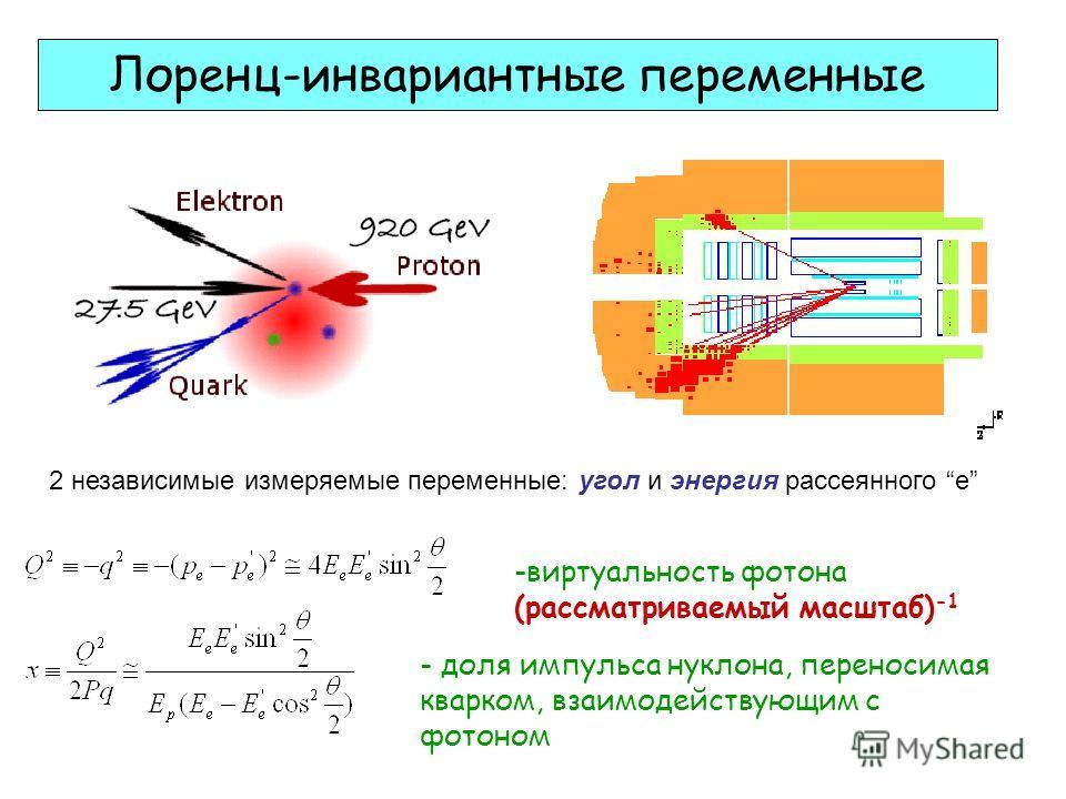 Лоренц-инвариантные переменные -виртуальность фотона (рассматриваемый масштаб) -1 - доля импульса нуклона, переносимая кварком, взаимодействующим с фотоном 2 независимые измеряемые переменные: угол и энергия рассеянного е