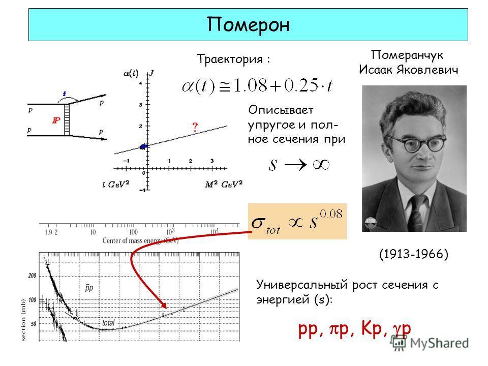 Померон Траектория : Померанчук Исаак Яковлевич (1913-1966) Универсальный рост сечения с энергией (s): pp, p, Kp, p Описывает упругое и пол- ное сечения при