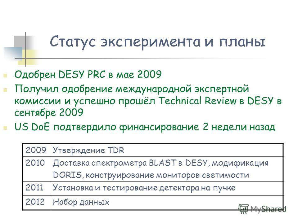 Одобрен DESY PRC в мае 2009 Получил одобрение международной экспертной комиссии и успешно прошёл Technical Review в DESY в сентябре 2009 US DoE подтвердило финансирование 2 недели назад Статус эксперимента и планы 2009Утверждение TDR 2010Доставка спе