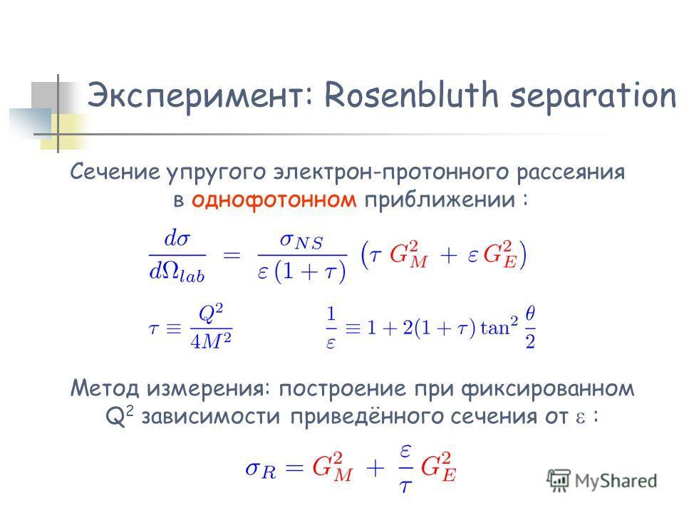 Эксперимент: Rosenbluth separation Сечение упругого электрон-протонного рассеяния в однофотонном приближении : Метод измерения: построение при фиксированном Q 2 зависимости приведённого сечения от :