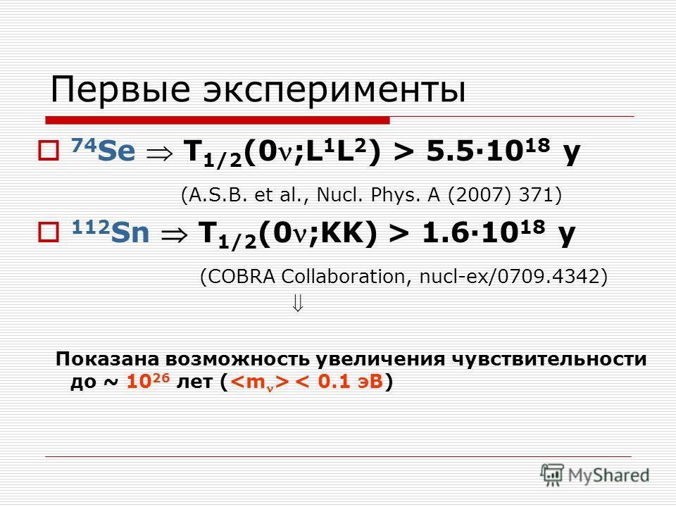 Первые эксперименты 74 Se T 1/2 (0;L 1 L 2 ) > 5.5·10 18 y (A.S.B. et al., Nucl. Phys. A (2007) 371) 112 Sn T 1/2 (0;KK) > 1.6·10 18 y (COBRA Collaboration, nucl-ex/0709.4342) Показана возможность увеличения чувствительности до ~ 10 26 лет ( < 0.1 эВ