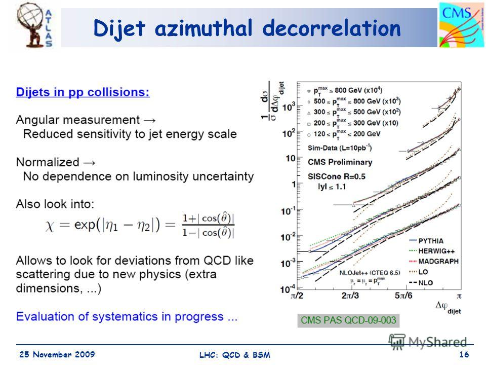 Dijet azimuthal decorrelation 25 November 2009 LHC: QCD & BSM 16