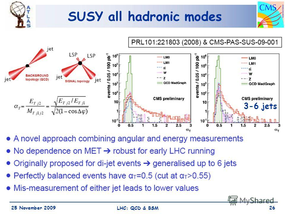 SUSY all hadronic modes 25 November 2009 LHC: QCD & BSM 26 3-6 jets