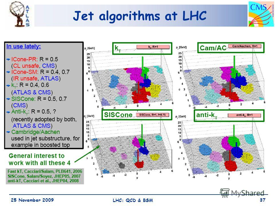 Jet algorithms at LHC 25 November 2009 LHC: QCD & BSM 37