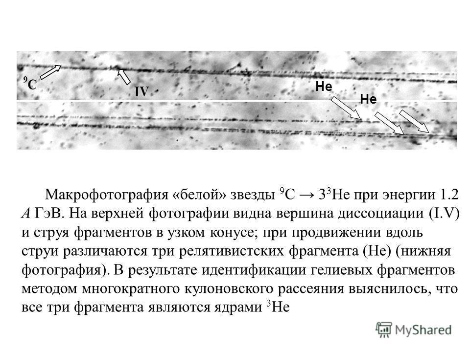 He Макрофотография «белой» звезды 9 С 3 3 Не при энергии 1.2 А ГэВ. На верхней фотографии видна вершина диссоциации (I.V) и струя фрагментов в узком конусе; при продвижении вдоль струи различаются три релятивистских фрагмента (He) (нижняя фотография)