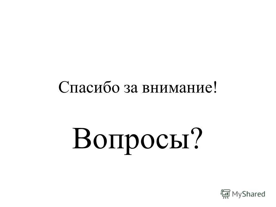 Спасибо за внимание! Вопросы?