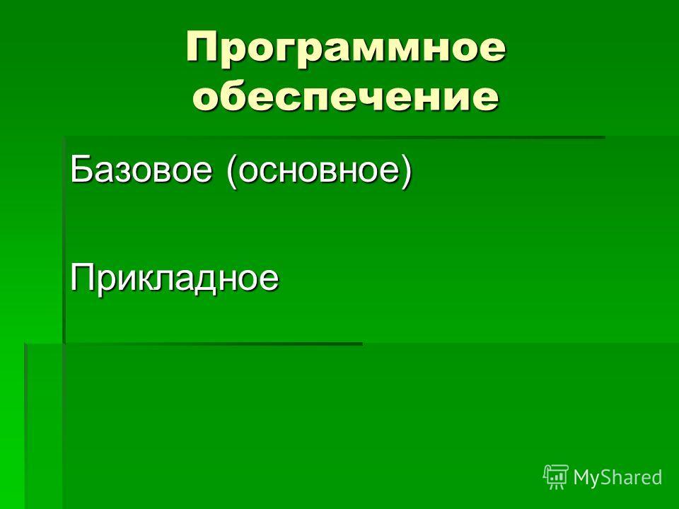 Программное обеспечение Базовое (основное) Прикладное