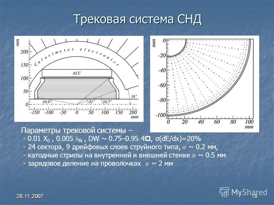 26.11.200718 Трековая система СНД Параметры трековой системы – - 0.01 X 0, 0.005 N, DW ~ 0.75–0.95 4, σ(dE/dx)=20% - 24 сектора, 9 дрейфовых слоев струйного типа, ~ 0.2 мм, - катодные стрипы на внутренней и внешней стенке ~ 0.5 мм - зарядовое деление