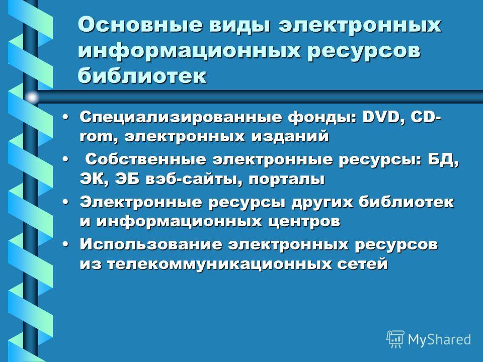 Основные виды электронных информационных ресурсов библиотек Специализированные фонды: DVD, CD- rom, электронных изданийСпециализированные фонды: DVD, CD- rom, электронных изданий Собственные электронные ресурсы: БД, ЭК, ЭБ вэб-сайты, порталы Собствен