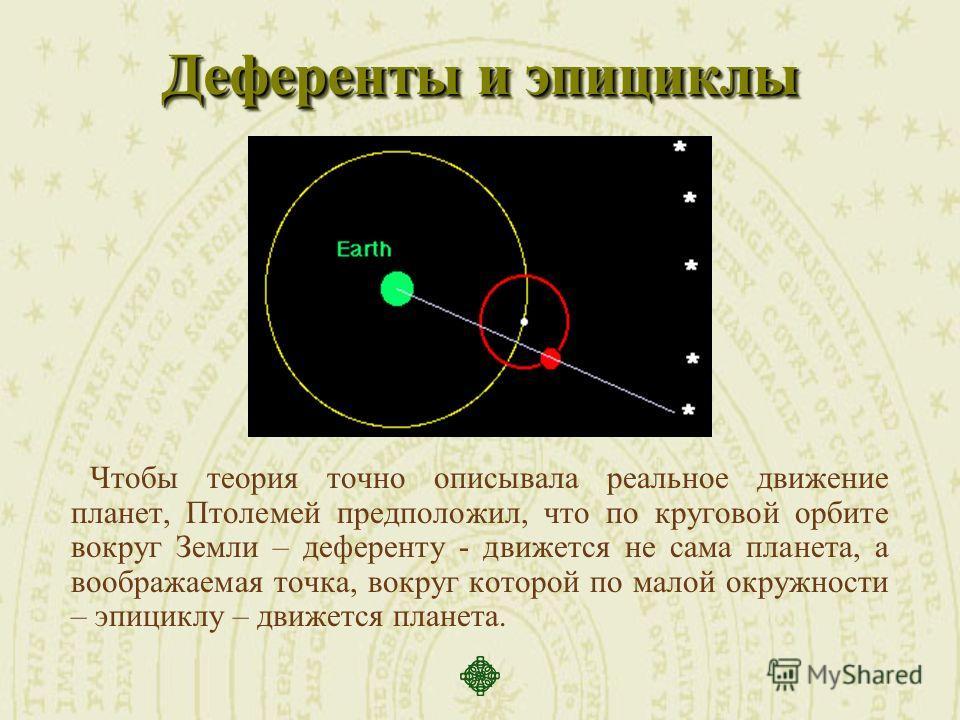 Деференты и эпициклы Чтобы теория точно описывала реальное движение планет, Птолемей предположил, что по круговой орбите вокруг Земли – деференту - движется не сама планета, а воображаемая точка, вокруг которой по малой окружности – эпициклу – движет