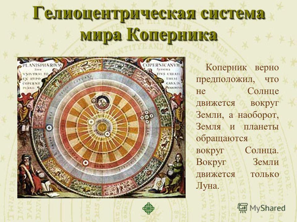 Гелиоцентрическая система мира Коперника Коперник верно предположил, что не Солнце движется вокруг Земли, а наоборот, Земля и планеты обращаются вокруг Солнца. Вокруг Земли движется только Луна.
