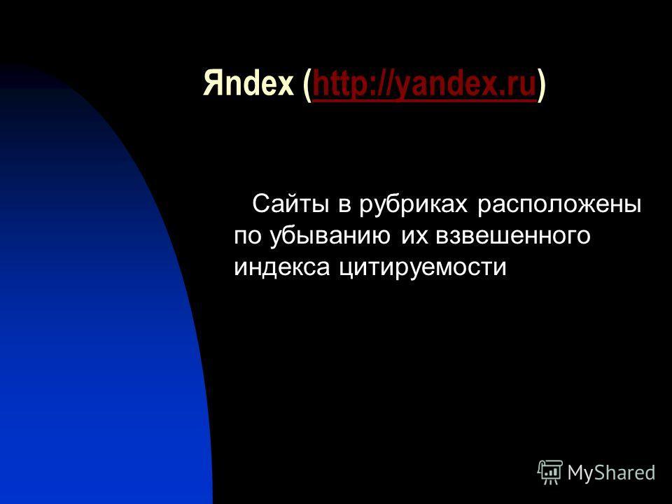 Яndex (http://yandex.ru)http://yandex.ru Сайты в рубриках расположены по убыванию их взвешенного индекса цитируемости