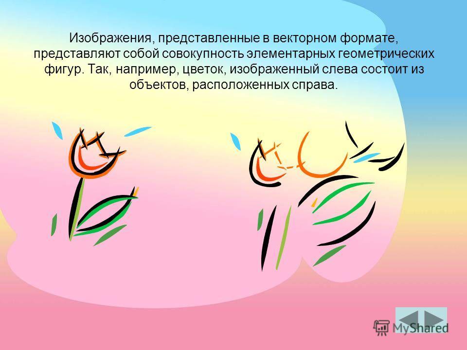 Изображения, представленные в векторном формате, представляют собой совокупность элементарных геометрических фигур. Так, например, цветок, изображенный слева состоит из объектов, расположенных справа.