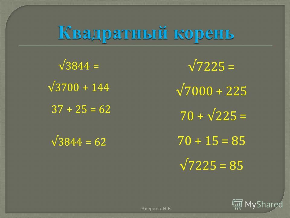 3844 = 3700 + 144 37 + 25 = 62 3844 = 62 7225 = 7000 + 225 70 + 225 = 70 + 15 = 85 7225 = 85 Аверина Н. В.