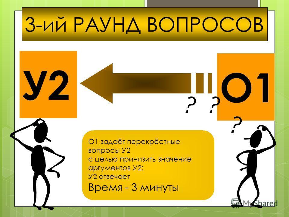 О1 3-ий РАУНД ВОПРОСОВ О1 задаёт перекрёстные вопросы У2 с целью принизить значение аргументов У2; У2 отвечает Время - 3 минуты
