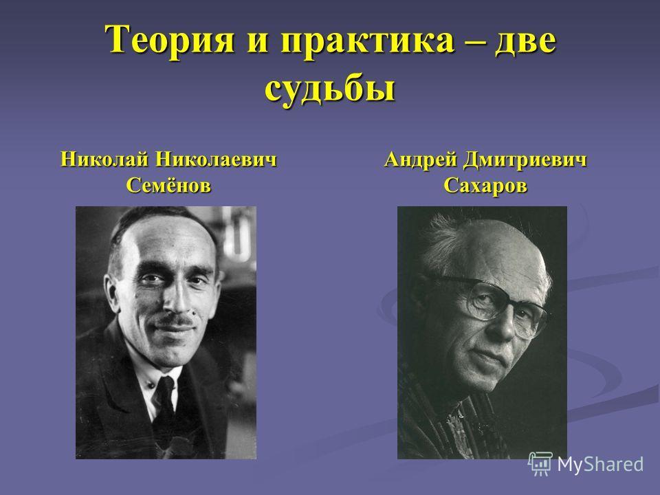 Теория и практика – две судьбы Николай Николаевич Семёнов Андрей Дмитриевич Сахаров