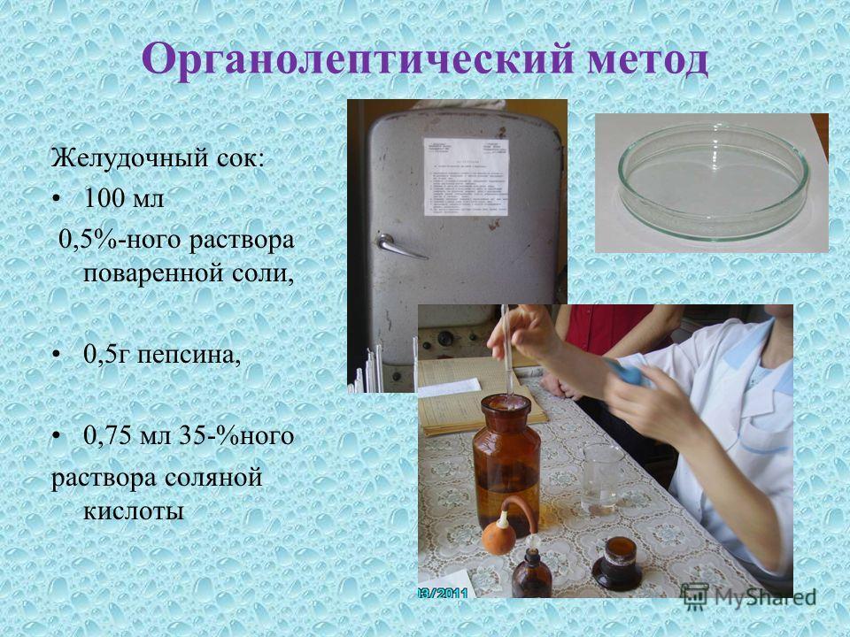 Органолептический метод Желудочный сок: 100 мл 0,5%-ного раствора поваренной соли, 0,5г пепсина, 0,75 мл 35-%ного раствора соляной кислоты