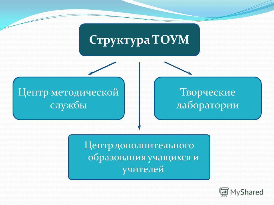 Центр дополнительного образования учащихся и учителей Творческие лаборатории Центр методической службы Структура ТОУМ