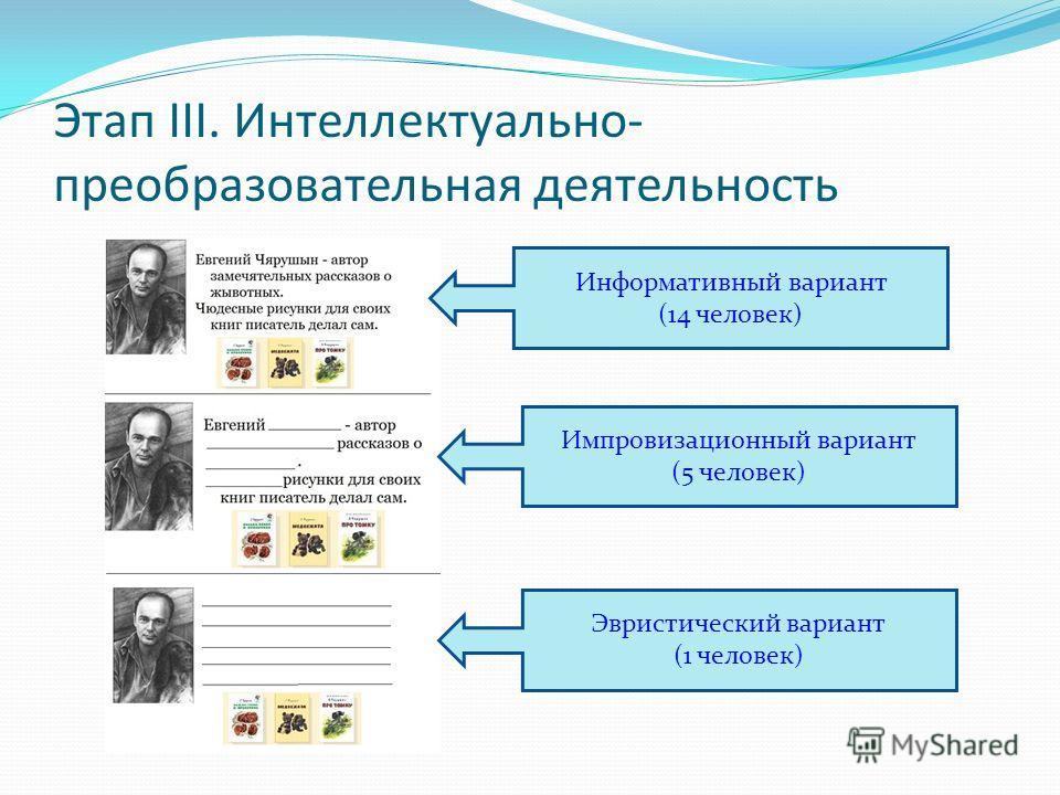 Этап III. Интеллектуально- преобразовательная деятельность Информативный вариант (14 человек) Импровизационный вариант (5 человек) Эвристический вариант (1 человек)