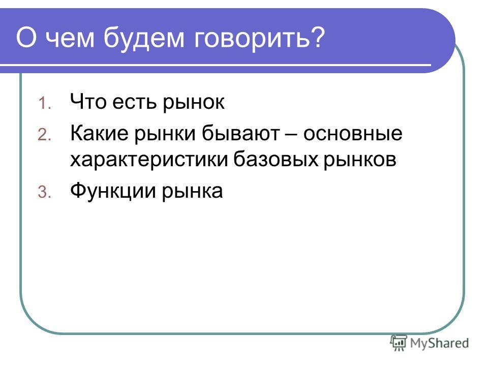 О чем будем говорить? 1. Что есть рынок 2. Какие рынки бывают – основные характеристики базовых рынков 3. Функции рынка