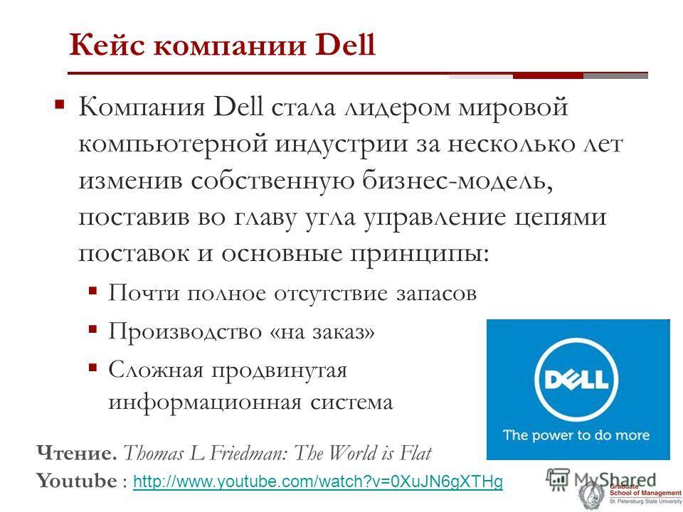 Кейс компании Dell Компания Dell стала лидером мировой компьютерной индустрии за несколько лет изменив собственную бизнес-модель, поставив во главу угла управление цепями поставок и основные принципы: Почти полное отсутствие запасов Производство «на