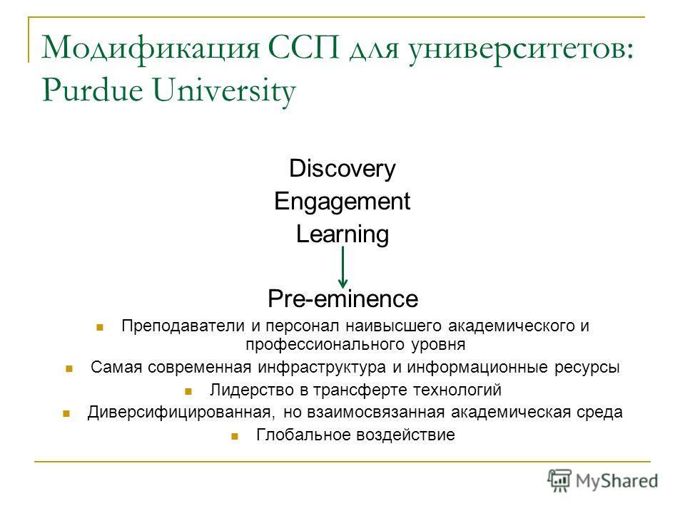 Модификация ССП для университетов: Purdue University Discovery Engagement Learning Pre-eminence Преподаватели и персонал наивысшего академического и профессионального уровня Самая современная инфраструктура и информационные ресурсы Лидерство в трансф