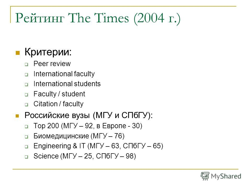 Рейтинг The Times (2004 г.) Критерии: Peer review International faculty International students Faculty / student Citation / faculty Российские вузы (МГУ и СПбГУ): Top 200 (МГУ – 92, в Европе - 30) Биомедицинские (МГУ – 76) Engineering & IT (МГУ – 63,