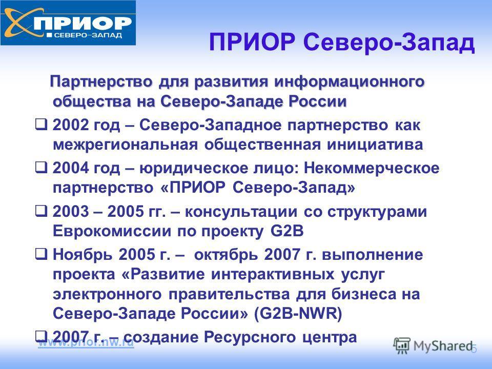 www.prior.nw.ru 5 ПРИОР Северо-Запад Партнерство для развития информационного общества на Северо-Западе России 2002 год – Северо-Западное партнерство как межрегиональная общественная инициатива 2004 год – юридическое лицо: Некоммерческое партнерство