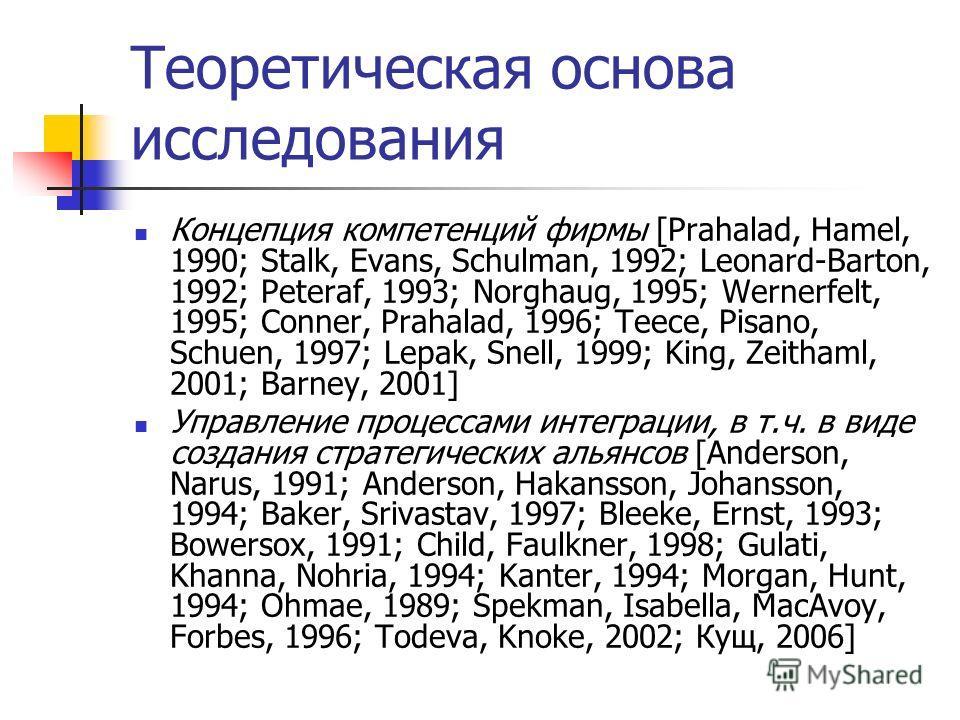 Теоретическая основа исследования Концепция компетенций фирмы [Prahalad, Hamel, 1990; Stalk, Evans, Schulman, 1992; Leonard-Barton, 1992; Peteraf, 1993; Norghaug, 1995; Wernerfelt, 1995; Conner, Prahalad, 1996; Teece, Pisano, Schuen, 1997; Lepak, Sne