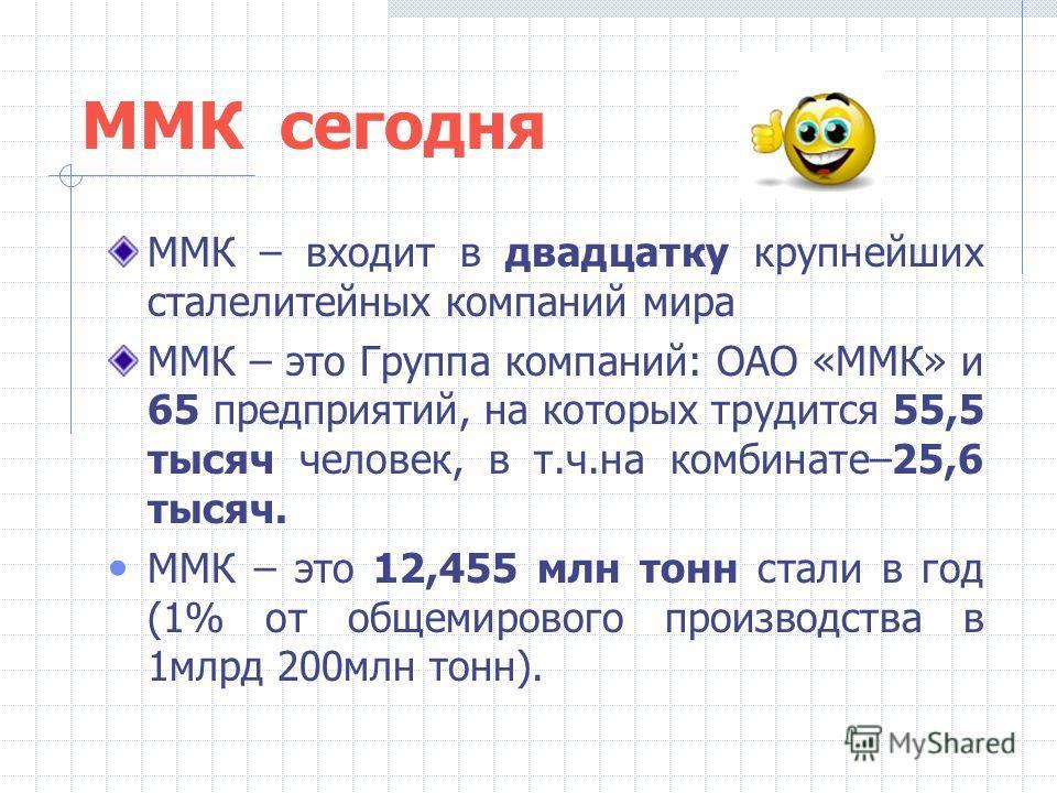 ММК сегодня ММК – входит в двадцатку крупнейших сталелитейных компаний мира ММК – это Группа компаний: ОАО «ММК» и 65 предприятий, на которых трудится 55,5 тысяч человек, в т.ч.на комбинате–25,6 тысяч. ММК – это 12,455 млн тонн стали в год (1% от общ
