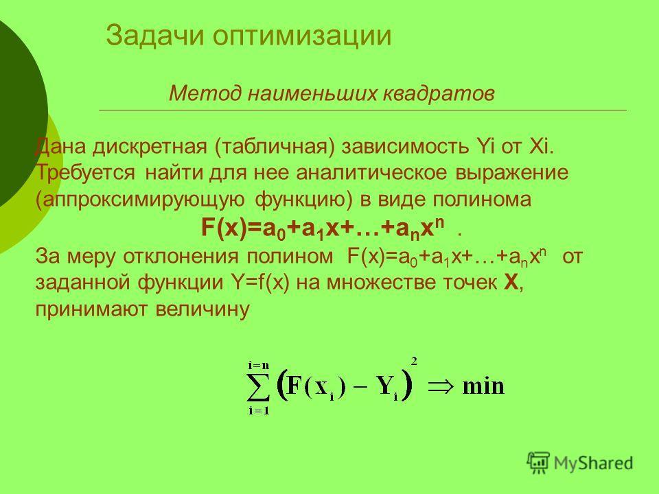 Задачи оптимизации Метод наименьших квадратов Дана дискретная (табличная) зависимость Yi от Xi. Требуется найти для нее аналитическое выражение (аппроксимирующую функцию) в виде полинома F(x)=a 0 +a 1 x+…+a n x n. За меру отклонения полином F(x)=a 0