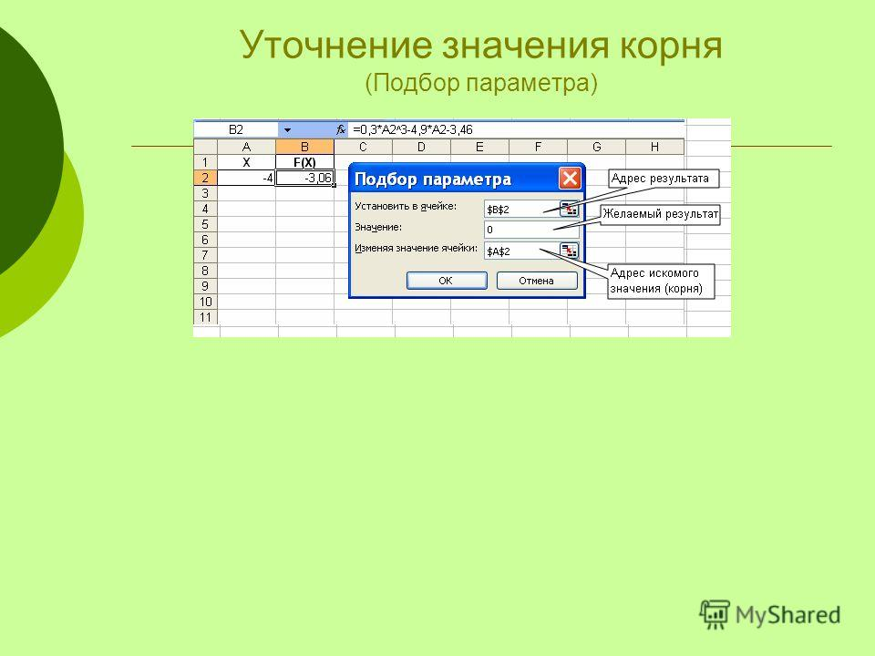 Уточнение значения корня (Подбор параметра)