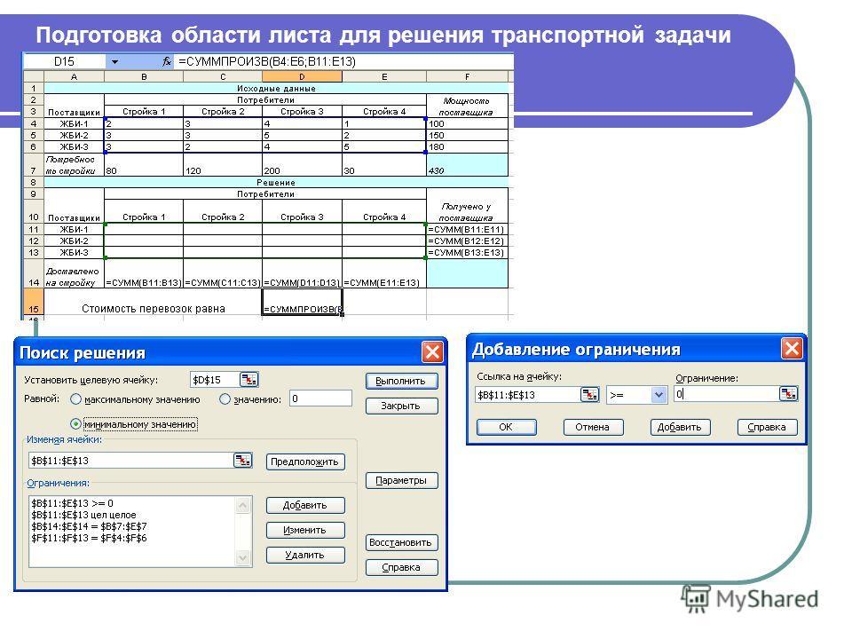 Подготовка области листа для решения транспортной задачи