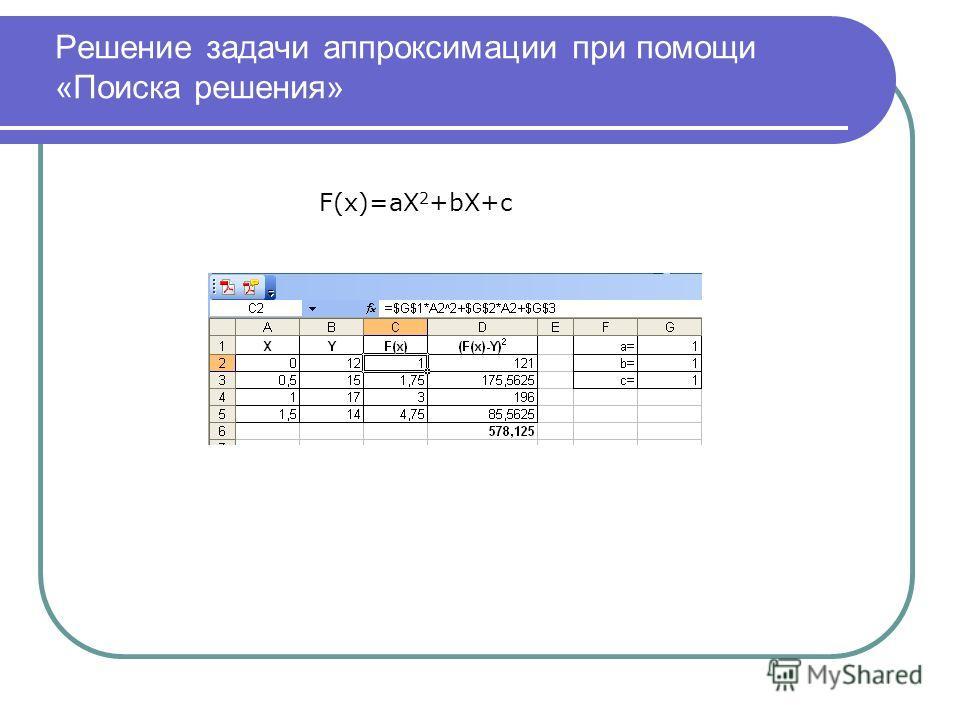 Решение задачи аппроксимации при помощи «Поиска решения» F(x)=aX 2 +bX+c