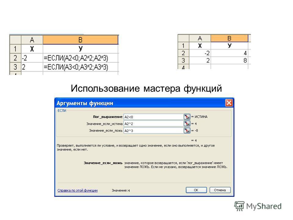 Запись функции Использование мастера функций