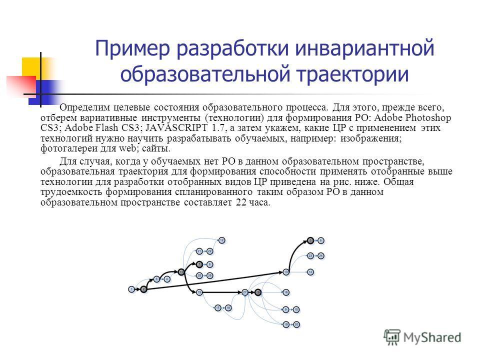 Пример разработки инвариантной образовательной траектории Определим целевые состояния образовательного процесса. Для этого, прежде всего, отберем вариативные инструменты (технологии) для формирования РО: Adobe Photoshop CS3; Adobe Flash CS3; JAVASCRI