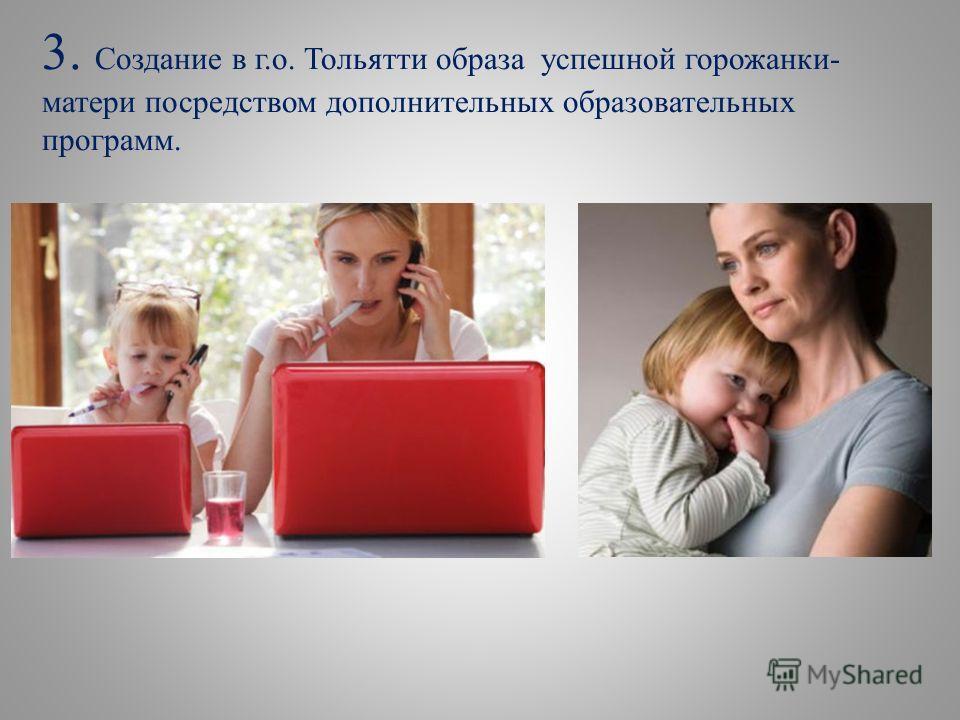 3. Создание в г.о. Тольятти образа успешной горожанки- матери посредством дополнительных образовательных программ.