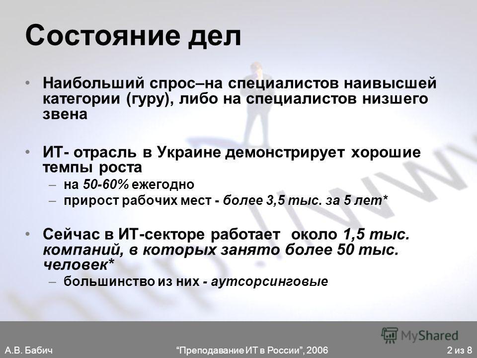 А.В. БабичПреподавание ИТ в России, 20062 из 8 Состояние дел Наибольший спрос–на специалистов наивысшей категории (гуру), либо на специалистов низшего звена ИТ- отрасль в Украине демонстрирует хорошие темпы роста –на 50-60% ежегодно –прирост рабочих
