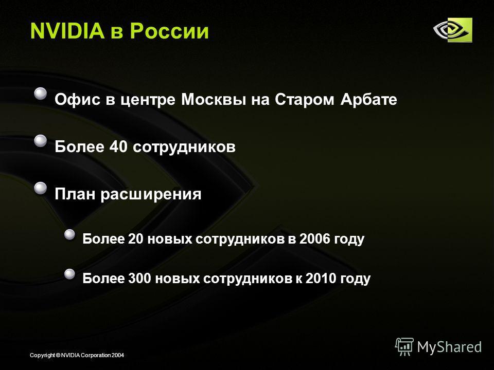 Copyright © NVIDIA Corporation 2004 NVIDIA в России Офис в центре Москвы на Старом Арбате Более 40 сотрудников План расширения Более 20 новых сотрудников в 2006 году Более 300 новых сотрудников к 2010 году