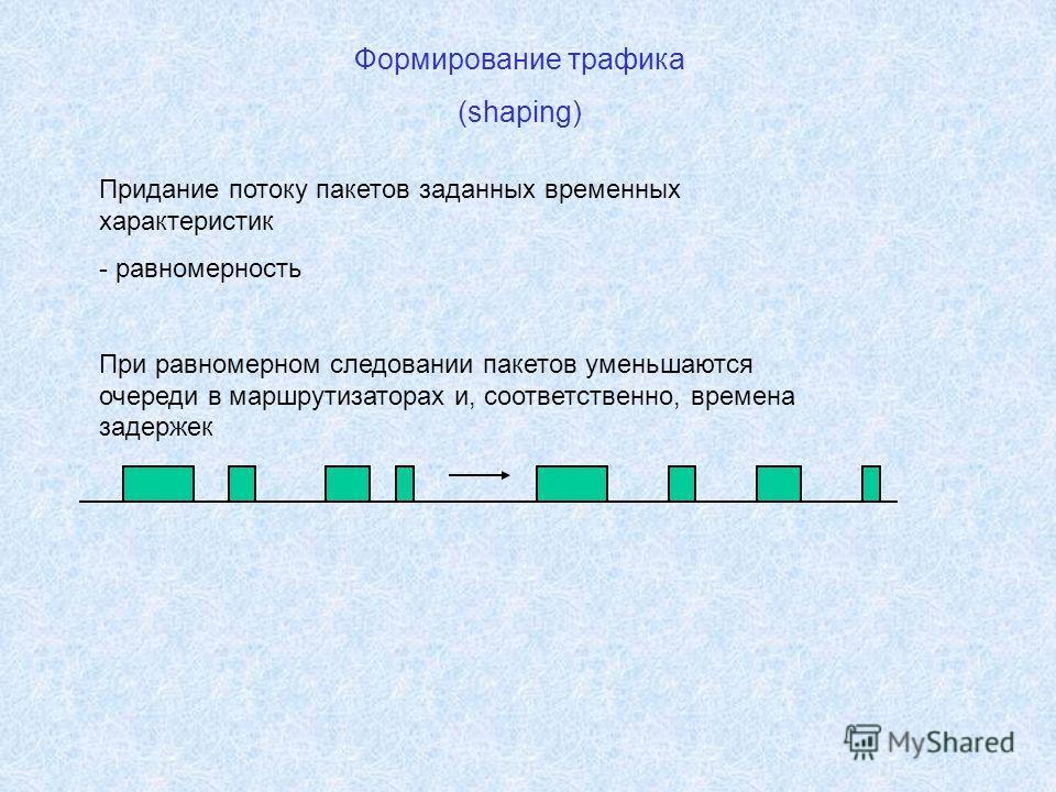 Формирование трафика (shaping) Придание потоку пакетов заданных временных характеристик - равномерность При равномерном следовании пакетов уменьшаются очереди в маршрутизаторах и, соответственно, времена задержек