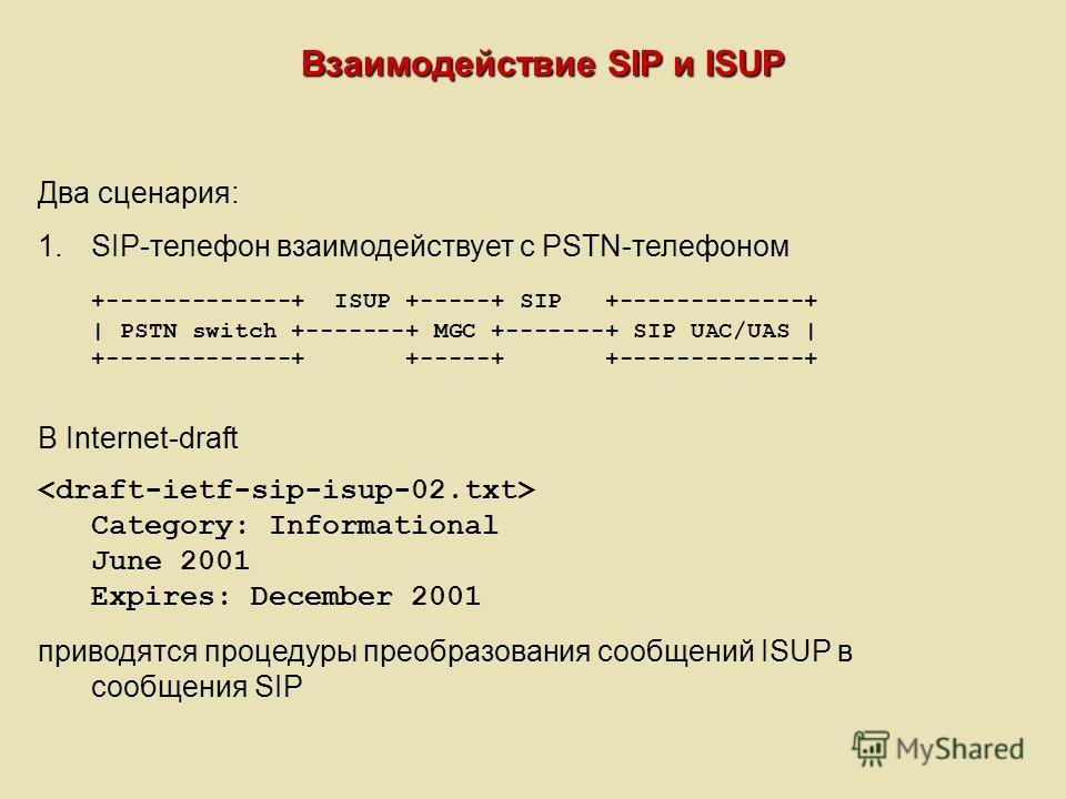 Взаимодействие SIP и ISUP Два сценария: 1.SIP-телефон взаимодействует с PSTN-телефоном +-------------+ ISUP +-----+ SIP +-------------+ | PSTN switch +-------+ MGC +-------+ SIP UAC/UAS | +-------------+ +-----+ +-------------+ В Internet-draft Categ