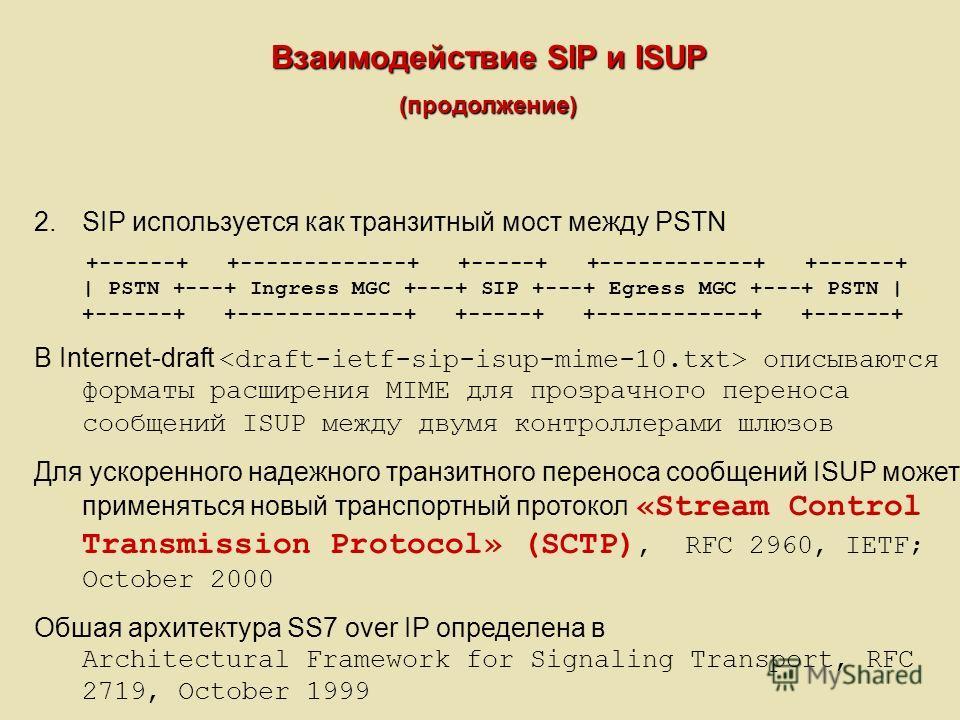 Взаимодействие SIP и ISUP (продолжение) 2.SIP используется как транзитный мост между PSTN +------+ +-------------+ +-----+ +------------+ +------+ | PSTN +---+ Ingress MGC +---+ SIP +---+ Egress MGC +---+ PSTN | +------+ +-------------+ +-----+ +----